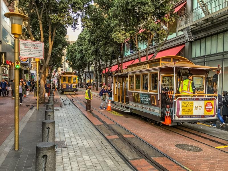Cable Cars tijdens vakantie San Francisco